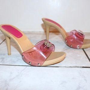 Bebe Transparent Pink Clear Strap Wooden Heels